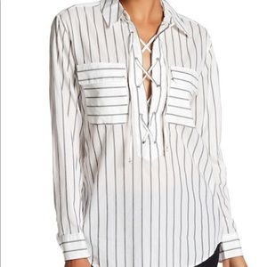 Equipment Knox Striped Lace Up Shirt